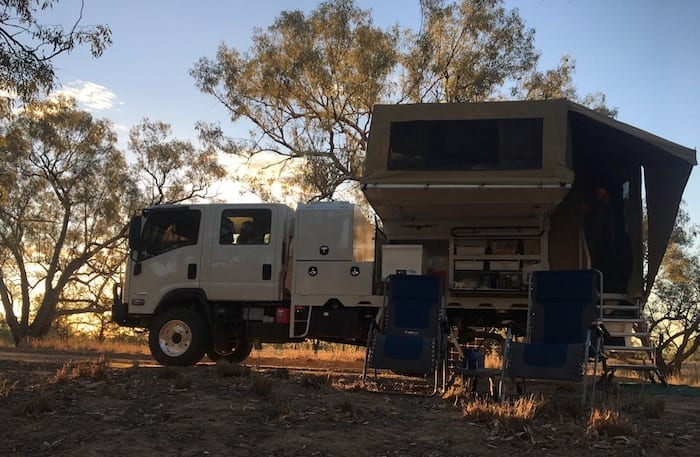 Isuzu NPS With Wedgetail Camper On The Paroo River, Queensland