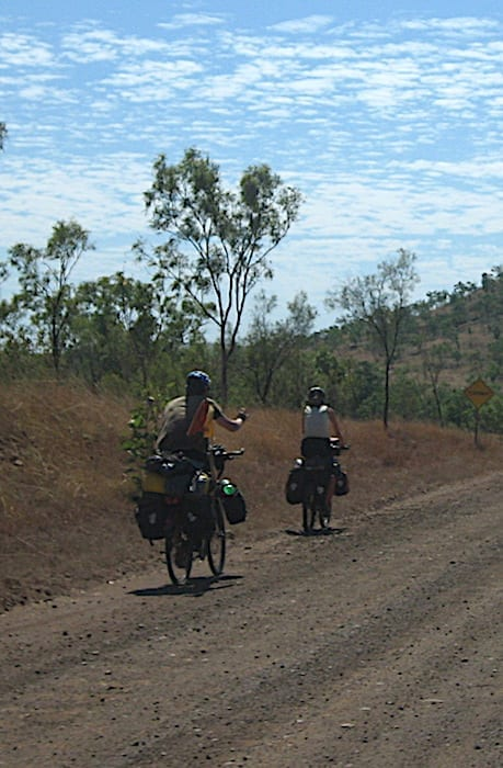Push bike riders on the Gibb River Road. Not my idea of fun!