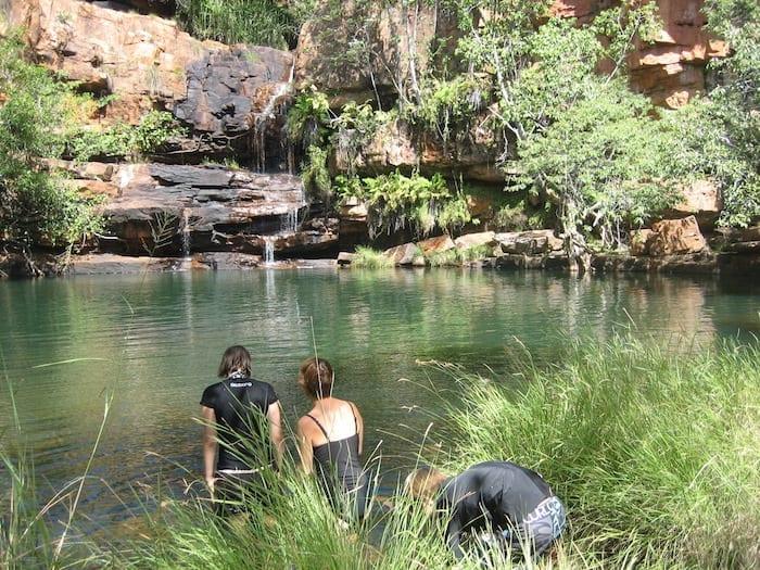 Swimming at Galvans Gorge.