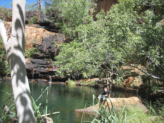 Swimming in Galvans Gorge.