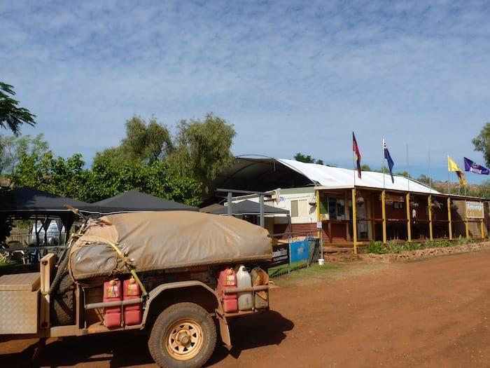 Our camper trailer outside Imintji Roadhouse, Gibb River Road.