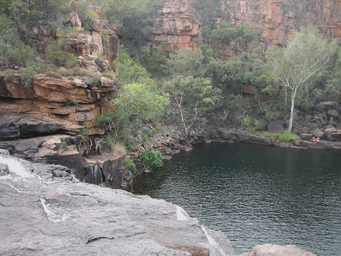 A view of the plunge pool from the top of the waterfall. Manning Gorge near Mount Barnett.