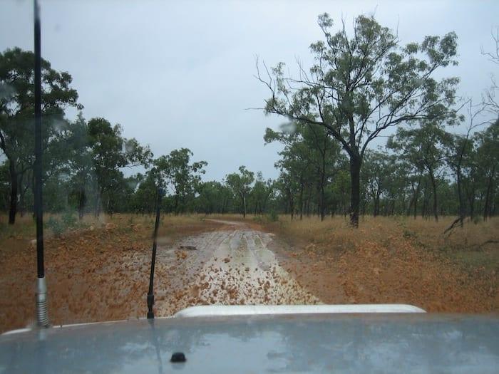 Driving out of King Edward River Campground. Kalumburu Road.