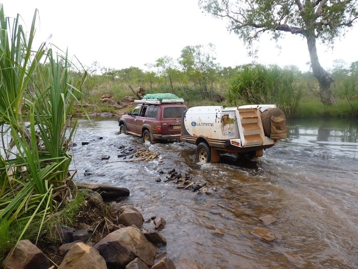 The traffic was terrible! King Edward River crossing.