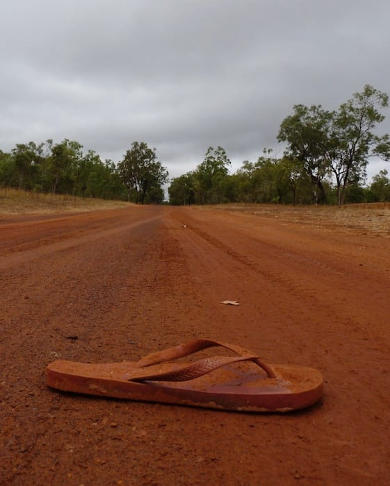 Red dirt and a thong - very Australian! Drysdale River Station.