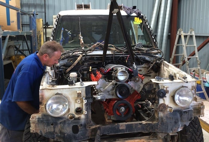 Dropping the new motor in. LS1 Engine Swap.