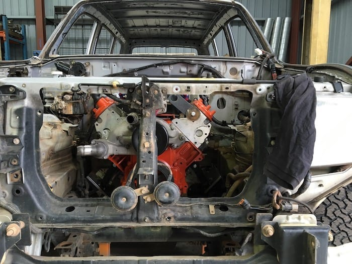 Ls1 fitted snugly in the Pajero engine bay. Engine Mounts.