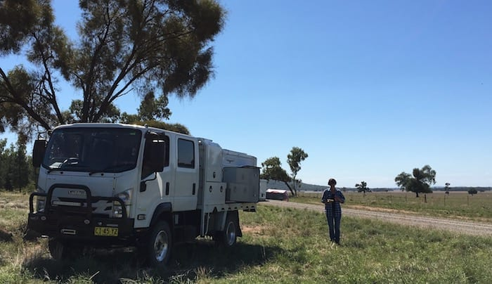 Lunch on the side of the road in western NSW. Wedgetail Camper Outside Kitchen.