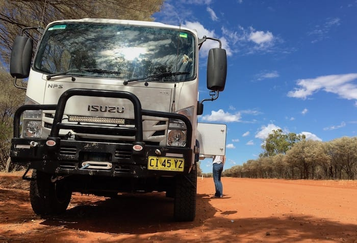 Pulled over on the upwind side of a dirt road in western NSW. Wedgetail Camper Outside Kitchen.