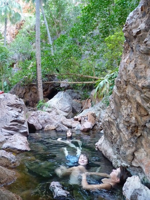 Ahhh, life's tough! Water is 28 - 30 deg. C. El Questro Station Kimberleys.