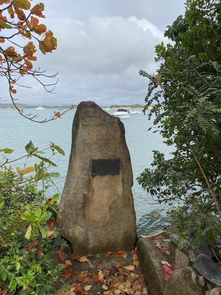 A memorial rock positioned at the point where Captain Cook beached the Endeavour at Cooktown QLD to conduct emergency repairs.