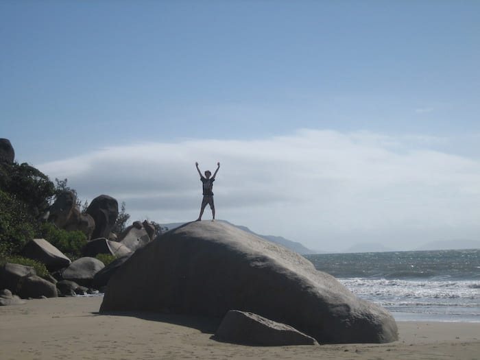 Ben on a huge granite rock at Northern end of Finch's Bay. Cooktown.