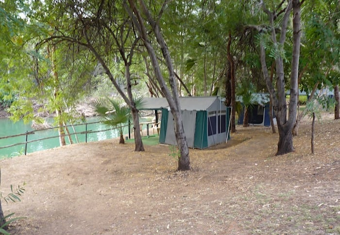 Campsites backing onto Lawn Hill Creek at Adels Grove.