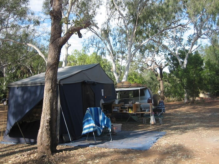 Camping at Mataranka Homestead.