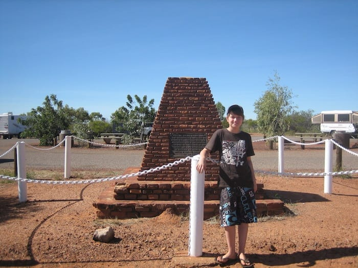 Monument to Stuart at Attack Creek, Northern Territory. Mataranka To Tennant Creek.