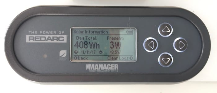 Remote monitor showing solar info, REDARC Battery Management System.