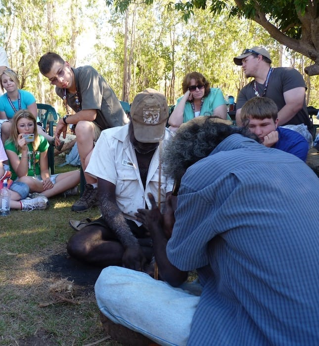 John and Ron lighting a fire with sticks. Manyallaluk, Northern Territory.