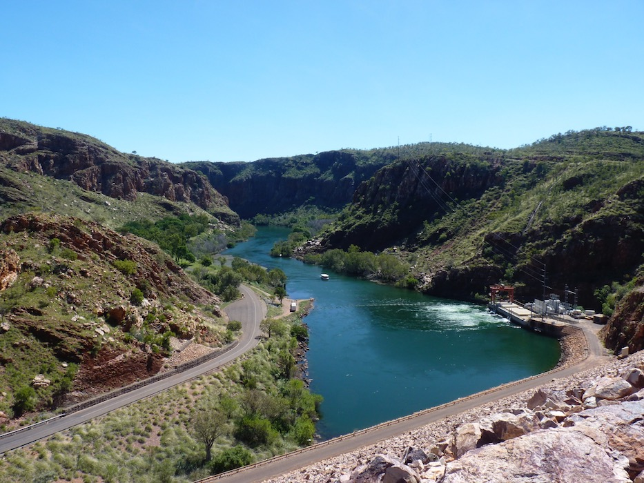 Hydro power station & Ord River, Lake Argyle.