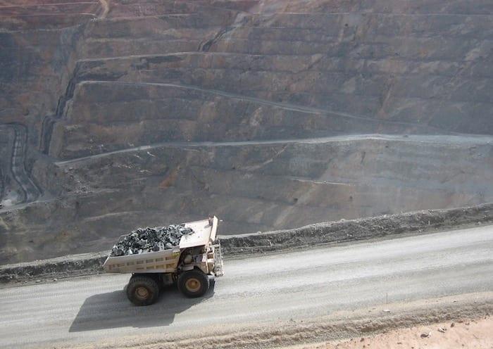 Dump truck crawling up the haul road. Kalgoorlie Super Pit.
