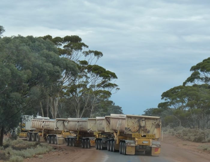 A road train near Coolgardie, Golden Quest Discovery Trail