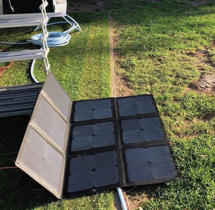 REDARC 115W SunPower Cell solar blanket catches the morning sun.