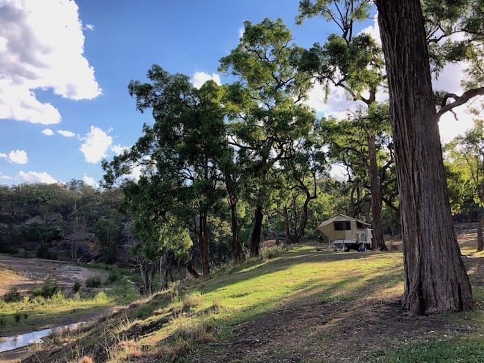 Our shady campsite, Goulburn River National Park.