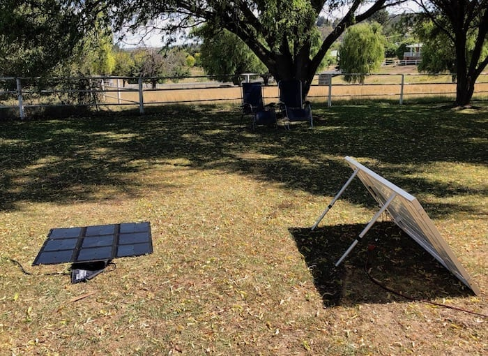 REDARC 115W SunPower Cell solar blanket, showing angle of sun.