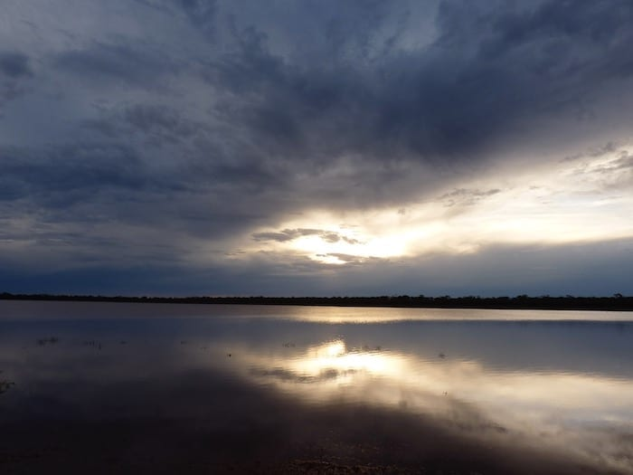 Sunset over Rowles Lagoon. Golden Quest Discovery Trail.
