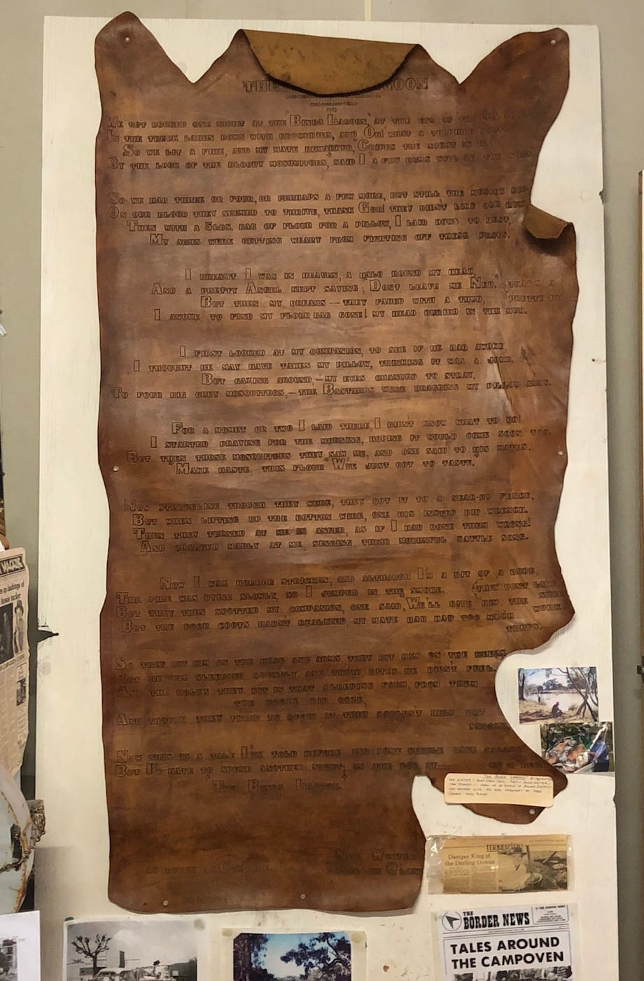 Poem on a tanned cow hide, Bollon QLD.
