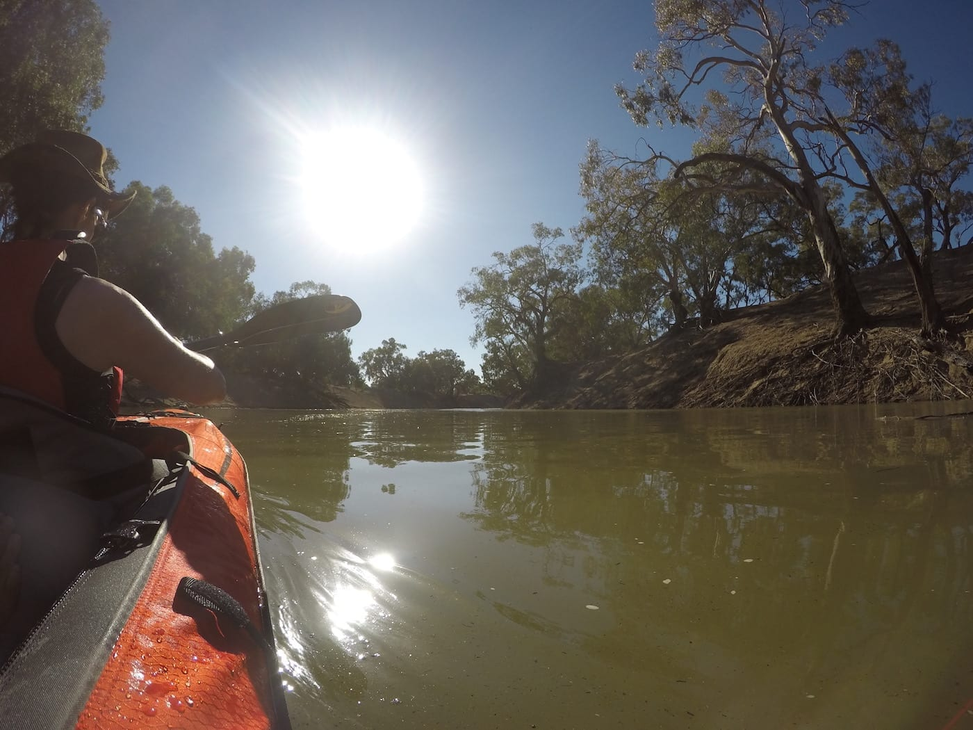 Early morning sun on the Darling River. Inflatable Kayaks.