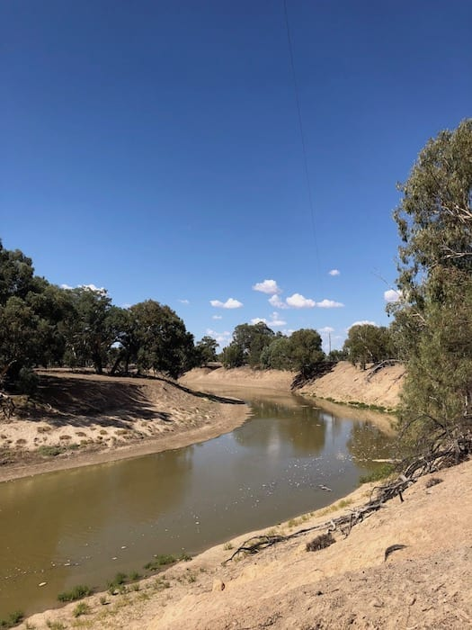 Flood waters flushing the Darling River.