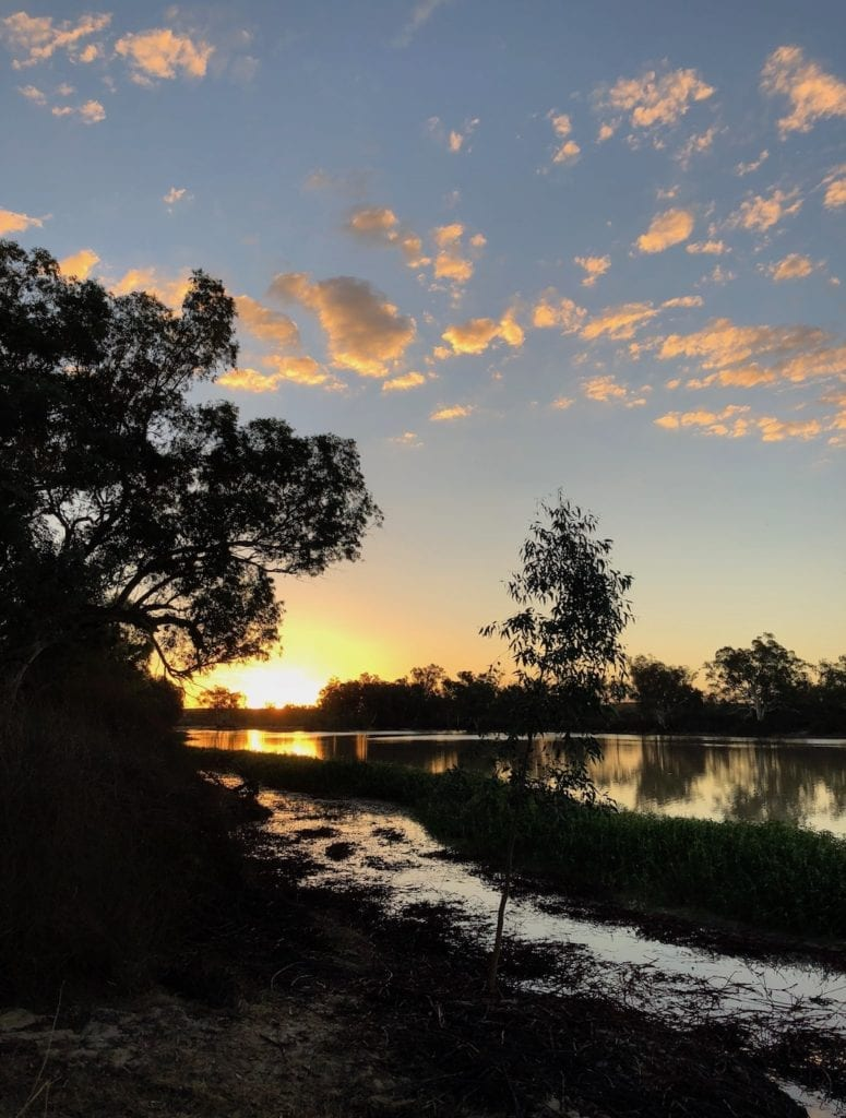 Sunset over Cooper Creek at Cullyamurra Waterhole.