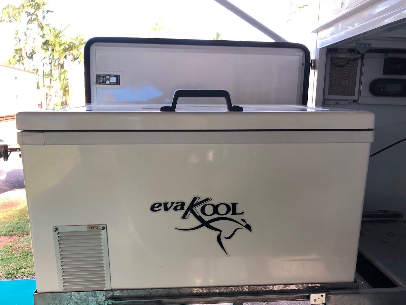 One piece fibreglass lid and body. EvaKool Fridge/Freezer.