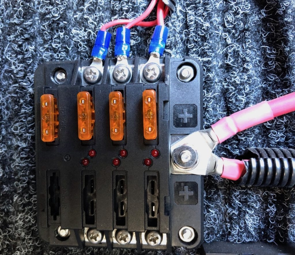 Positive terminal with fuse to supply power to Cel-Fi GO.