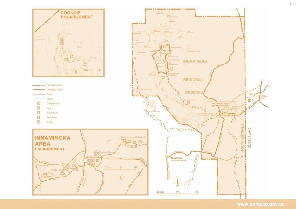 Cooper Creek, Parks SA Map.
