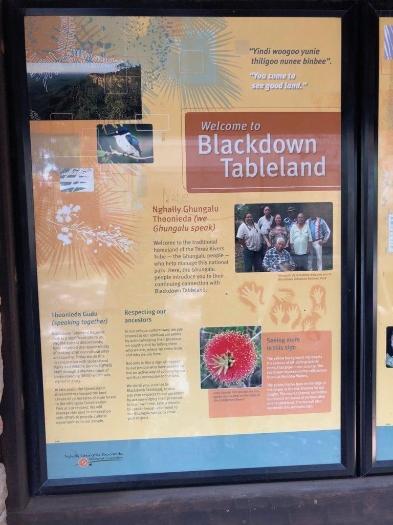 Interpretive signage at Blackdown Tableland National Park.