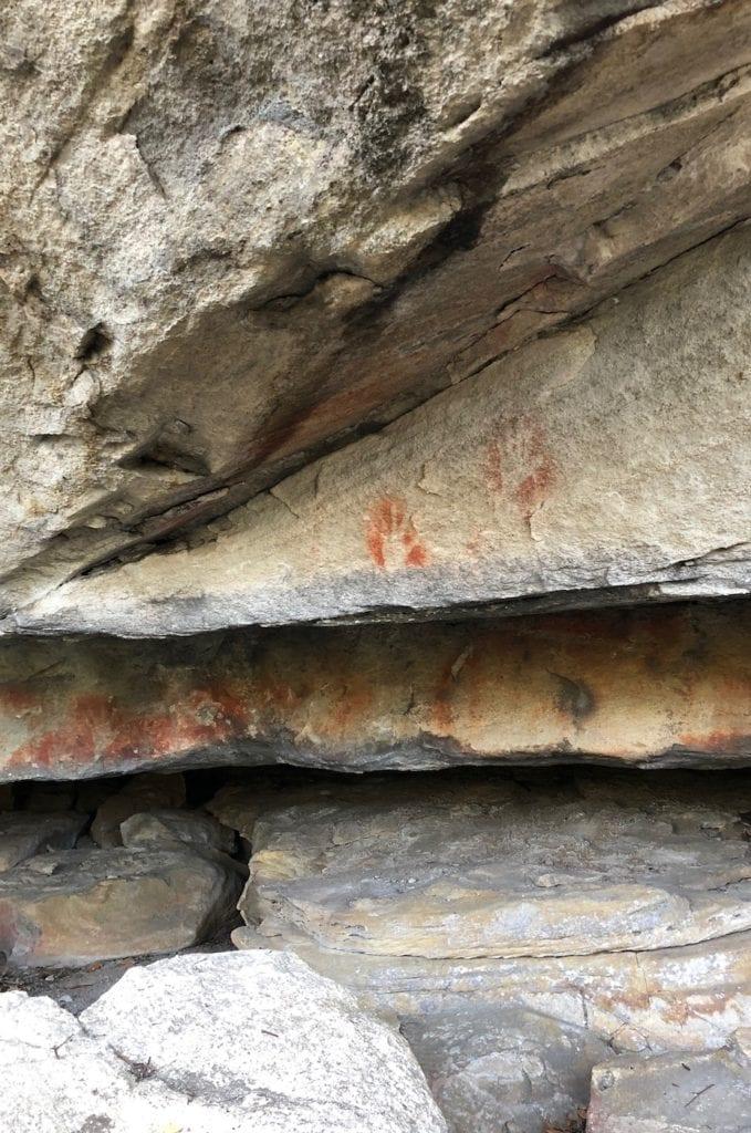 Aboriginal hand stencils. Walks In Blackdown Tableland NP.