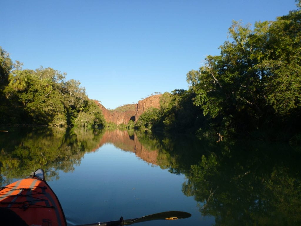 Approaching Lower Gorge. Kayaking Lawn Hill Creek.