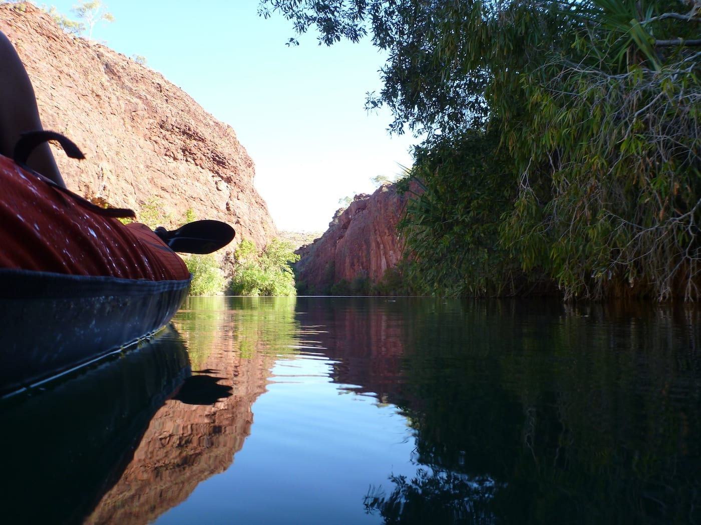 Cruising along the creek. Kayaking Lawn Hill Creek.