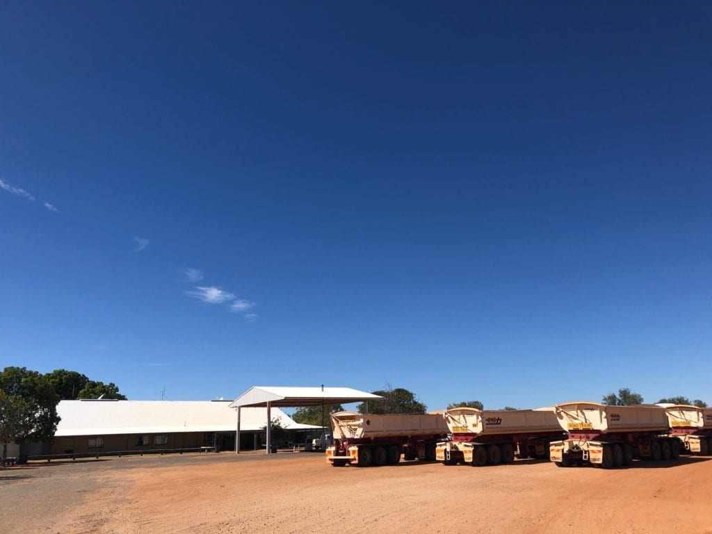 Roadatrains lined up outside Tilmouth Well Roadhouse, Tanami Road.
