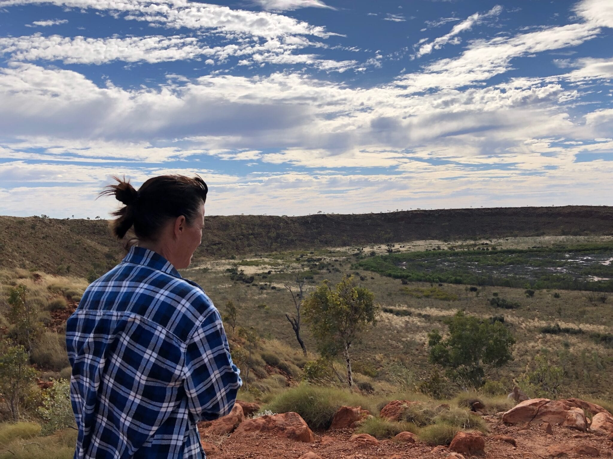 Standing at the lookout on a freezing cold day. Wolfe Creek Meteorite Crater.
