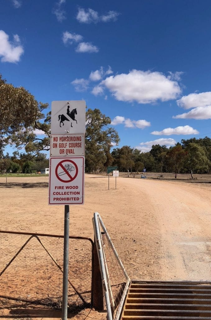 A sign reminding us not to ride our horses on the oval on the golf course, Pooncarie NSW.