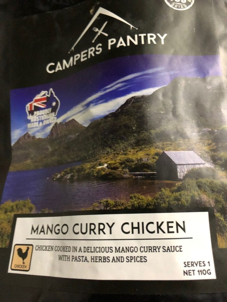 Mango Curry Chicken from Campers Pantry. Easy camping food.