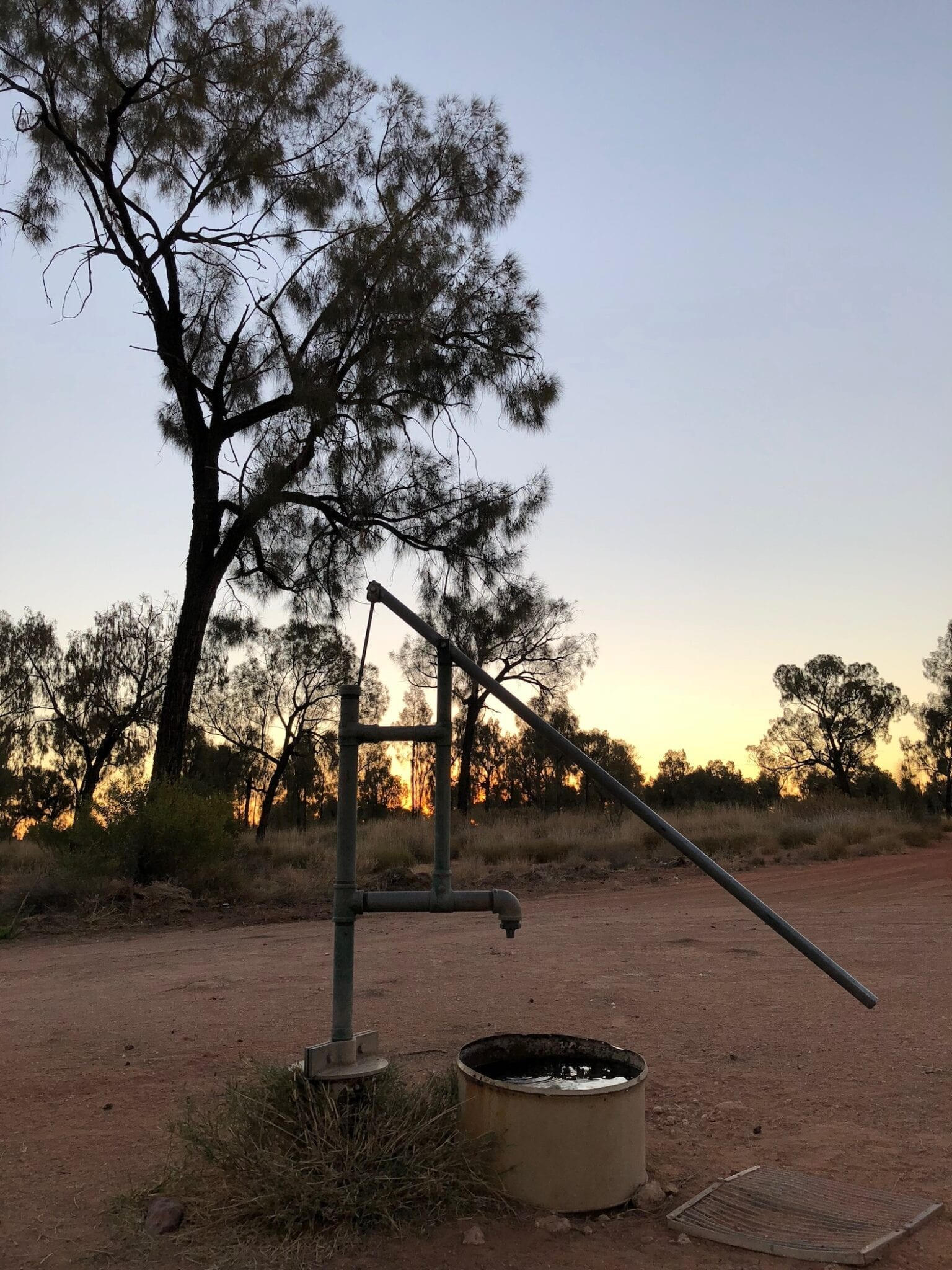 The operating well at Jupiter Well, Gary Junction Road.