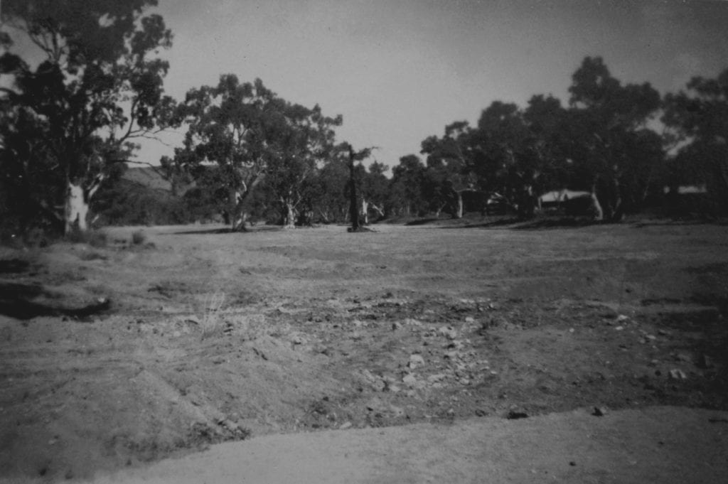 The dry Todd River at Alice Springs, 1950.