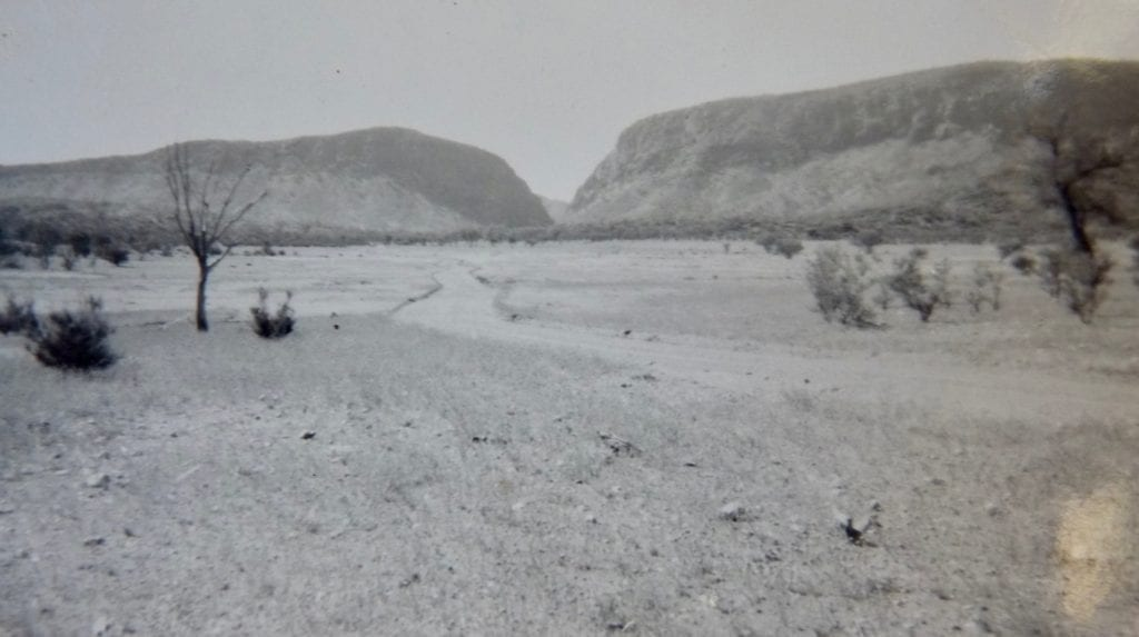 Approaching Heavitree gap from the South on the Old Ghan in 1950.