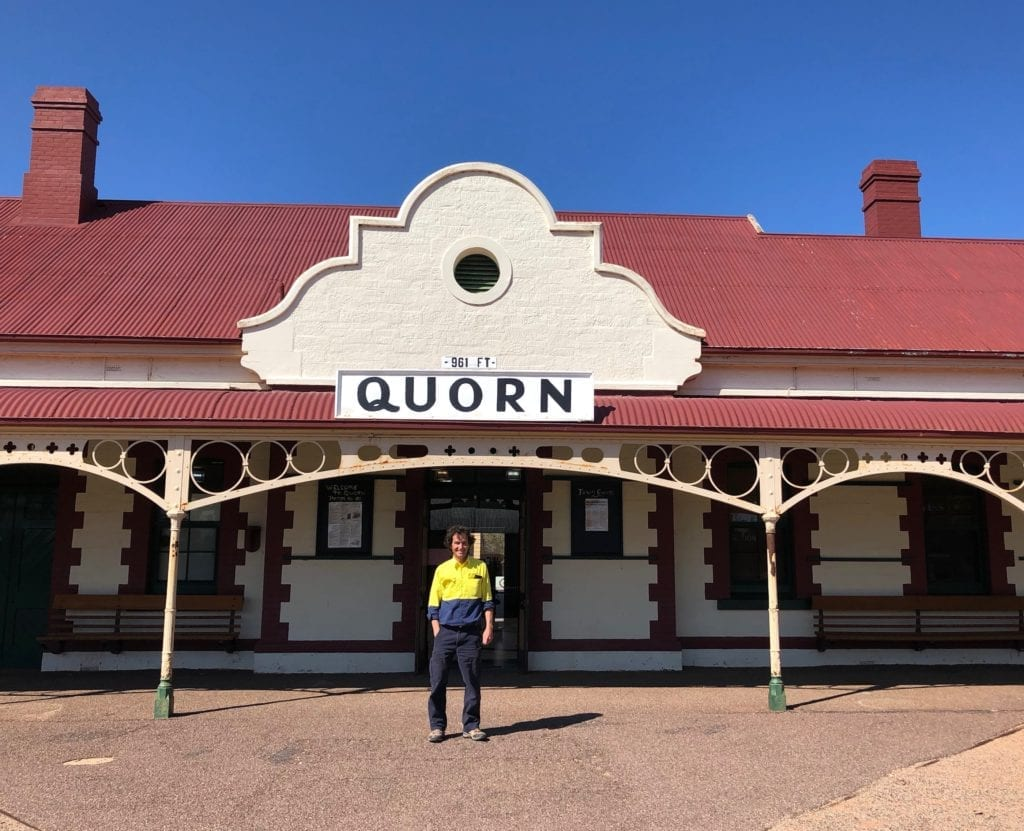 Andrew standing outside the back of Quorn Railway Station, 2018. Old Ghan