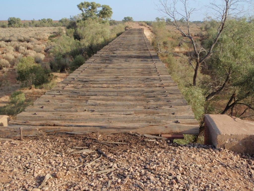 Remnants of an Old Ghan rail bridge at Farina. Between Quorn SA and Marree.