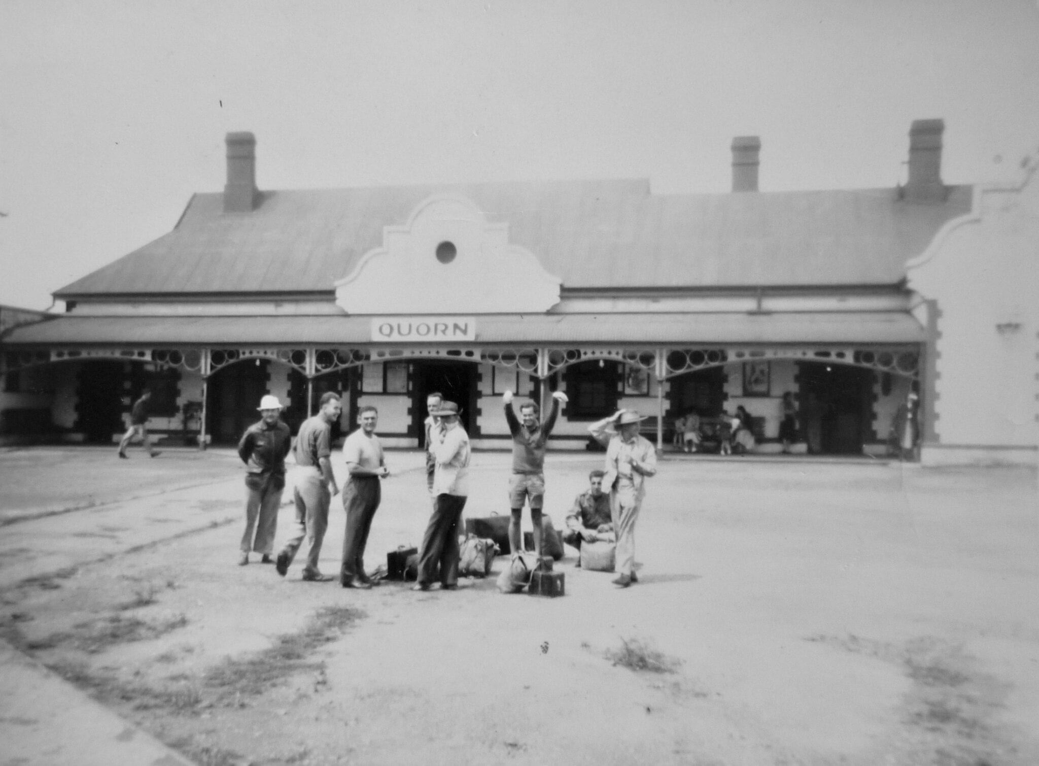 Natmap crew outside railway station at Quorn SA, 1950.