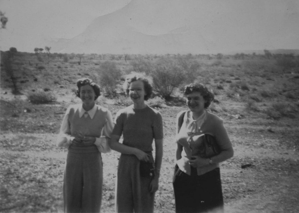 """Taken in 1950. """"Some of the girls in our carriage. Taken near S.A. Central Australia Border"""". The worst of the sand dunes were yet to come."""